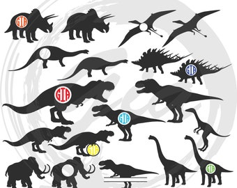 Dinosaurs SVG clipart, Trex svg, dinosaur monogram frame svg, ready to cut files for Cricut, Silhouette etc, also in png, eps & DXF