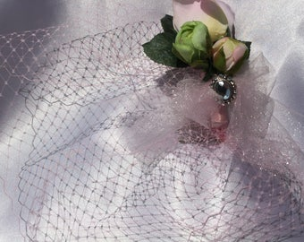 Pink and green silk roses teatime birdcage veil, rhinestone jewel piece and tulle hair accessory, special occasion, garden wedding headpiece