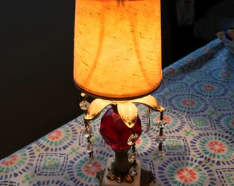 Vintage retro ruby glass lamp with decorative jewels