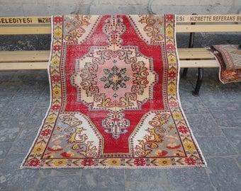Vintage rug,Oushak rug,boho rug,rustic decor rug,Area rug,muted colors living room rug,low pile,unique rug,peerless rug,85 x 55 dowry rug !!