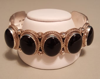 Authentic NICK BILL handcrafted Glossy Black Onyx 5 Stone  Sterling Silver Cuff Bracelet - Fits up to 8-1/2 inch wrist