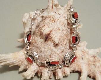 Sterling Silver Red Coral Leaf Link Bracelet with Lobster Clasp -  Native American Signed - Fits Sizes 7 to 8 Inches