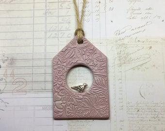 Rosy Pink Birdhouse Decoration - unique birdhouse, decorative birdhouse, rustic birdhouse, clay decoration, clay tags, door hanger