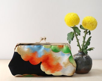 Rainbow Clouds Silk Clutch | Upcycled from vintage Japanese Obi