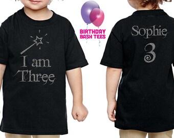 3 Year Old Princess Birthday Shirt I am Three Silver GLITTER Birthday Shirt Niece Daughter Kids Party 3 Birthday Gift Princess Birthday Gift