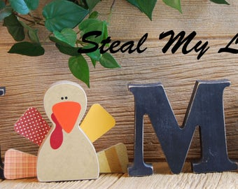 "Turkey: Thanksgiving Decorations - Interchangeable Unfinished ""O"" Insert - Compatible with Home, Love and Welcome Letter Set"