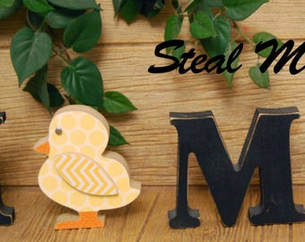 "Standing Chick: DIY Unfinished Spring and Easter Letter Decoration ""O"" Insert ONLY - Craft for ""H M E"" or ""L V E"" Interchangeable Letter Set"