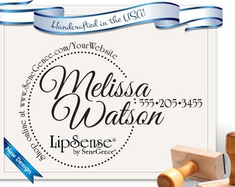 LipSense Independent Consultant Custom Stamp for Brochures, cards, etc... Personalized Free!  Business Stamp SKU 1698