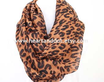 leopard scarf, leopard print scarf, leopard infinity scarf, gift for her, gift for women, scarf for her, scarf for women, christmas gifts