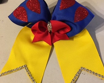Snow White Inspired Cheer Bow
