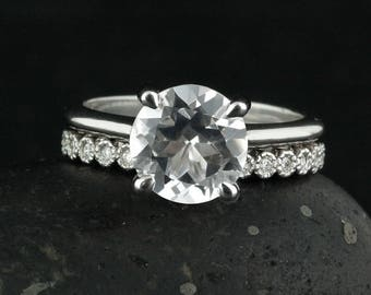 Round White Topaz Engagement Ring - Milgrain Bezel Wedding Band - Bridal Set