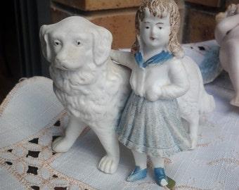 Figurine of Girl and her dog - Rip Van Winkle daughter