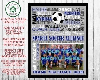 SOCCER COACH GIFT ~ Soccer Coach Thank You ~ Personalized ~ Soccer Team Banner ~ End of Season Soccer Team Gift ~ Personalized Digital File