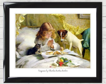 Art Print Suspense by Charles Burton Barber Girl Bed Cat and Dog Vintage Victorian Poster Digital Download 019