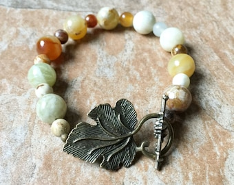 Layering bracelet stacking brown bracelet boho style jade white healing bracelet brown healing crystal brown spiritual bracelet affirmation