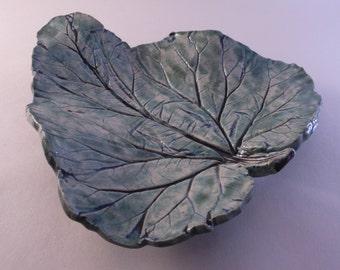Fruit bowl handmade pottery, ceramic leaf, rhubarb natural leaf, ceramic plate, handmade ceramics, pressed leaves