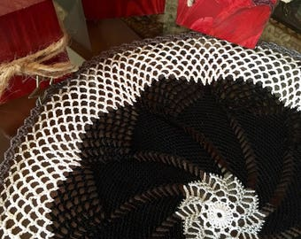Black and White Pinwheel Doily - Crochet Lace Doily - Table Centerpiece - Handmade Doilies - Housewarming Gift - Coffee Table Decor