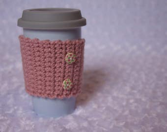 Light Pink Coffee Cozy with Buttons