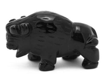Buffalo Black Obsidian Hand Carved Gemstone Animal Totem Statue Stone Sculpture