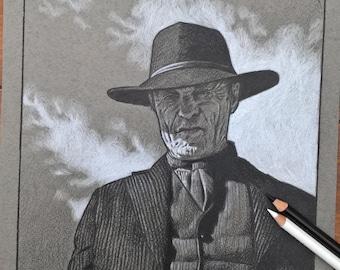 "Ed Harris - The Man in Black - Westworld original pencil drawing 8""x11"""