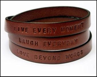 Personalized Leather Bracelet for Men, Leather Wrap Bracelet, Customized Gift, Motivational Bracelet