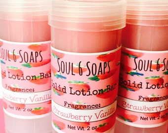 Solid Lotion Bar Strawberry Vanilla with Shea Butter Coconut Oil & Beeswax