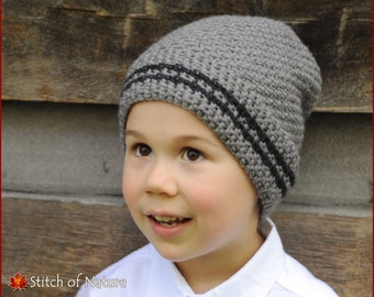 Crochet Hat PATTERN - The Bay Ridge Slouchy Hat, Slouchy Beanie Pattern  (Toddler to Adult sizes - Boys, Girls) - id: 16007