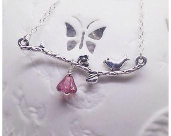 Silver Bird Necklace, Bird Pendant, Branch Necklace, Bird Charm, Branch Charm, Flower Necklace, Pink, Silver, Bird on a Branch,