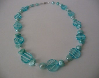 Aqua and White Stripe Beaded Necklace