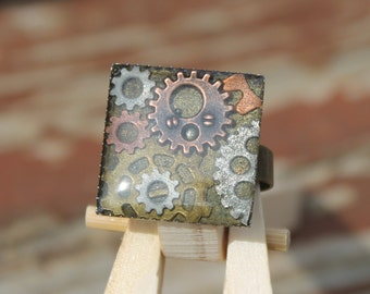 Steampunk Gears Adjustable Ring