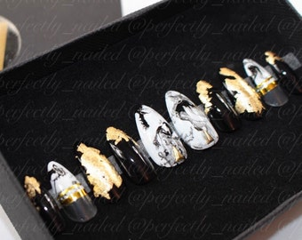 Black and gold marble with negative space • Handpainted False Nails • Fake Nails • Press on Nails • Stick on Nails