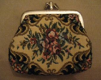 Low Shipping Charge Un Used Vintage 1960's Tapestry 3 Section Change Purse Wallet