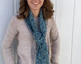 Blue Crochet Shell Scarf