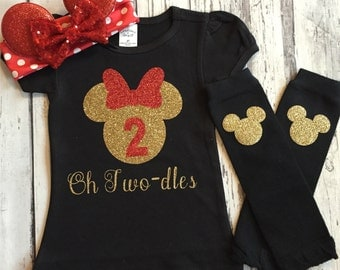 Red Gold and Black Personalized Minnie Mouse 2nd Birthday Shirt, Toodles Birthday Shirt, Oh Twodles, Minnie Mouse 2nd Birthday Outfit, Prop