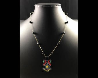 Solid 14k gold 18' necklace with matte black onyx bead and beaded Talisman