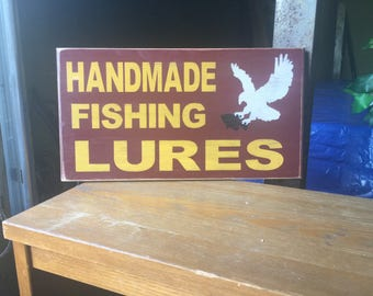 Fishing lure sign, handmade fishing lures, personalized fishimg lure sign, personalized fishing sign