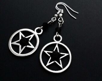 Pentagram Earrings, Pentacle Earrings, Witchy Jewelry, Gothic Jewelry, Grunge Earrings, Pagan Jewelry, Wiccan Earrings, Gothic Earrings