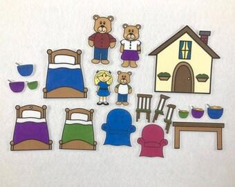 Goldilocks & The Three Bears Felt Board Story - Flannel Board Story - Speech Therapy - Children's Gift