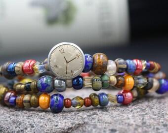 Women's Beaded Bracelet, Luster Czech Glass Beads, Indian Horn, African Bone, Antique Button, Antique Button, East Grand Blvd. Bracelet