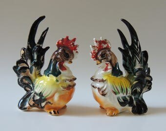 Vintage 50's Roosters, colorful roosters, rooster figurines, kitchen decor, home decor, made in Japan roosters, collectible roosters