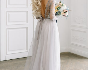 Grey lace wedding dress 'Vera' / Wedding dress with sleeves / Low back wedding dress / Boneless / Light / Embroidered and beaded lace dress