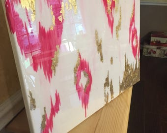 SOLD! Original abstract ikat inspired paiting with pinks, white, gold, and resin