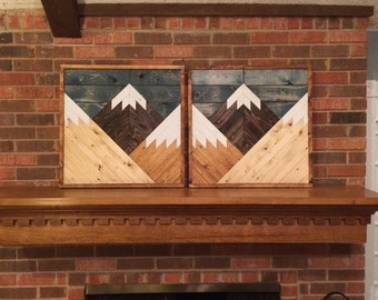 Stained Mountain Tops Set Of 2 Reclaimed Wood Wall Art