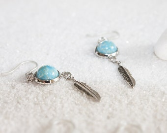 Hypoallergenic Silicone Turquoise with Feather Earrings