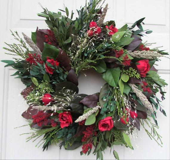 Indoor wreath, fall wreath, custom wreath, preserved wreath, salal wreath, red rose wreath, leaf wreath, small wreath, elegant wreath