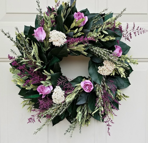 "Preserved wreath, 15"" wreath, natural wreath, preserved wreath, small wreath, natural wreath, salal wreath, indoor wreath"