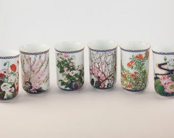 Set of Six FP Floral Japanese Sake Cups