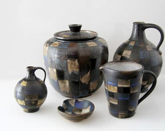 Beautiful set of Studio pottery - Punch/Bowle, 2 handled vases, 1 pitcher, 1 ashtray, Great design
