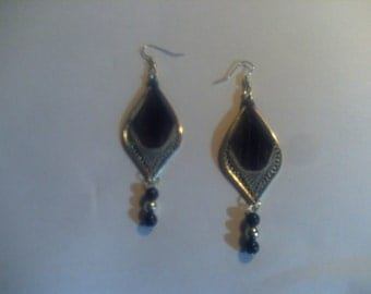 Black and Gray Threaded Earring's with Bead's!