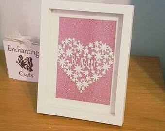 Daisy Heart Be Happy Papercut, 7 x 5 inch, Happiness, gift, present love, home decor